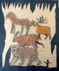 5. Klasse, Höhlenmalerei, Pastellkreiden, Collage